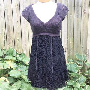 Free People Size 4 Dress Black Gray Lace